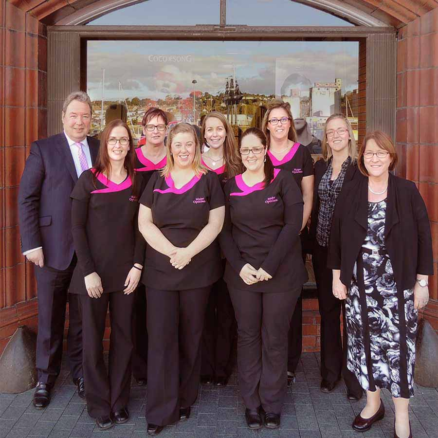 Major Opticians Staff outside the Waterford Branch